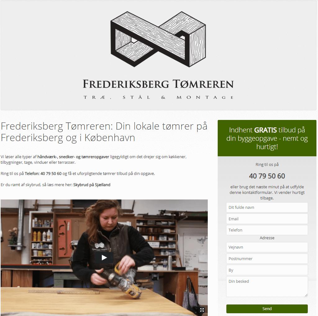 tømrer hjemmesiden med klar cta